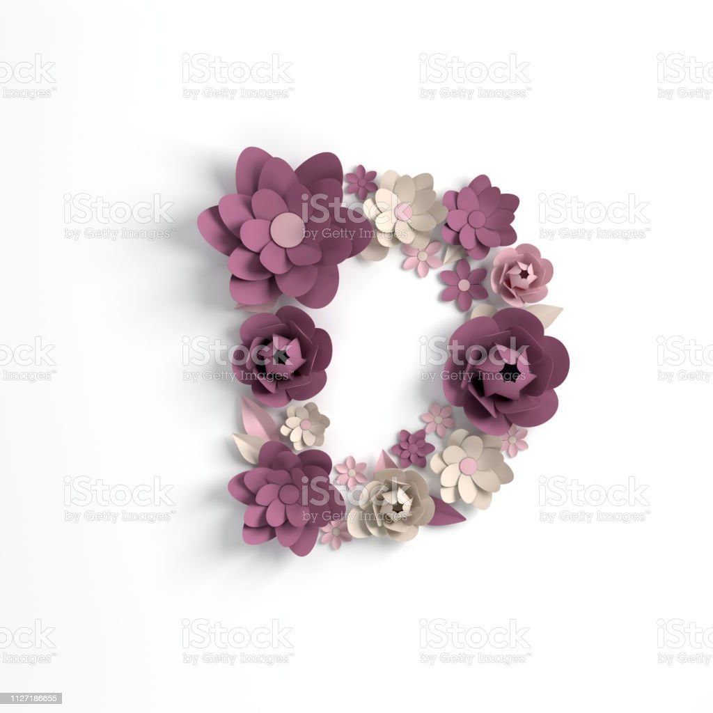 Papier Blume Alphabet Buchstaben D 3d Render Pastellfarbenen