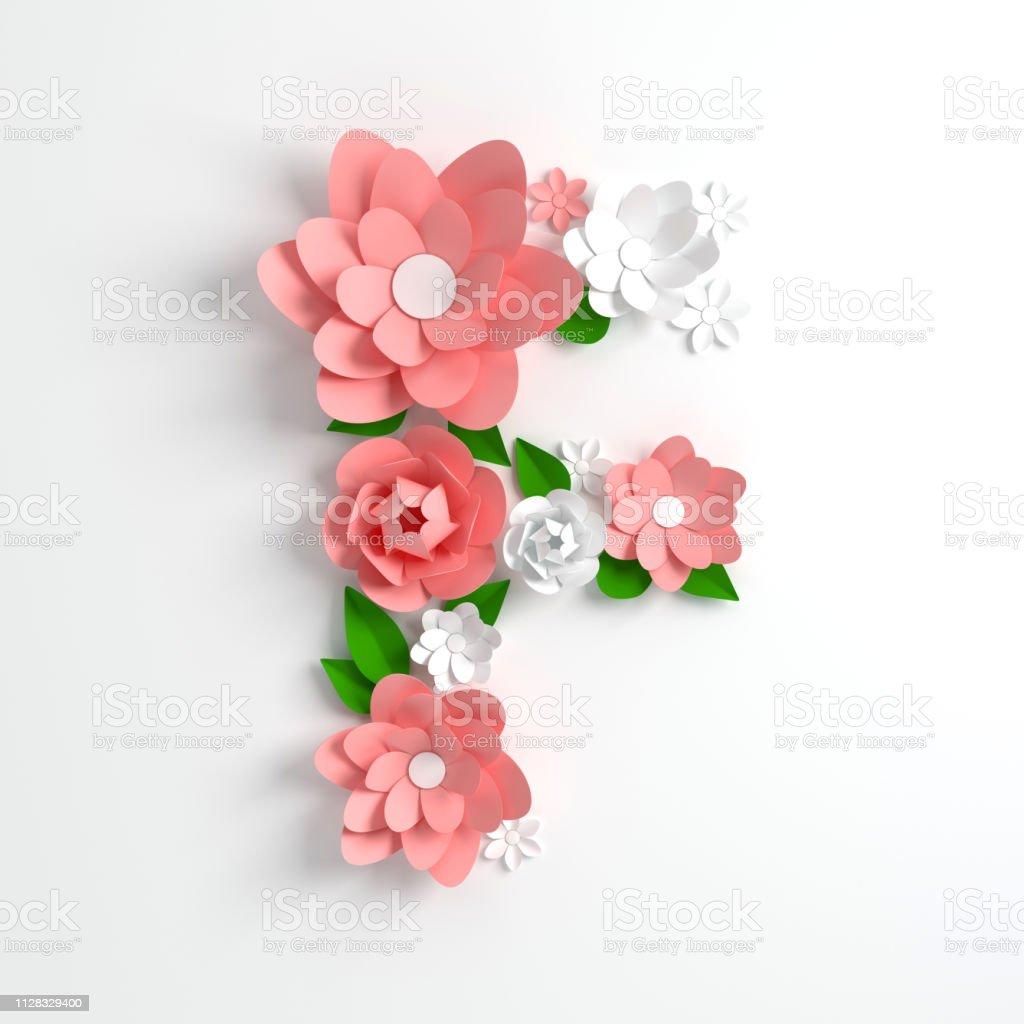 Papier Blume Alphabet Buchstaben F 3d Render Pastellfarbenen Blüten In Modernen Papier Origami Kunststil Flache Laien Digitale Illustration Isoliert