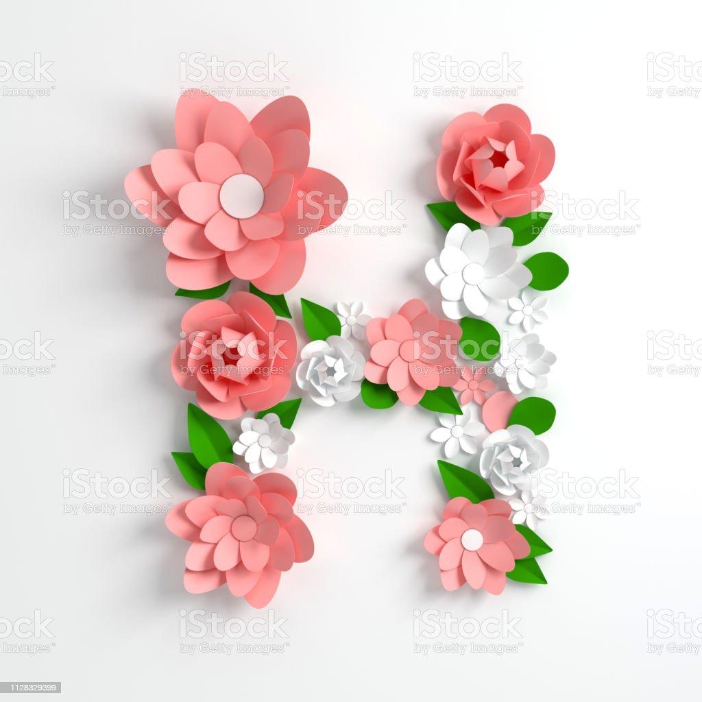 Papier Blume Alphabet Buchstaben H 3d Render Pastellfarbenen
