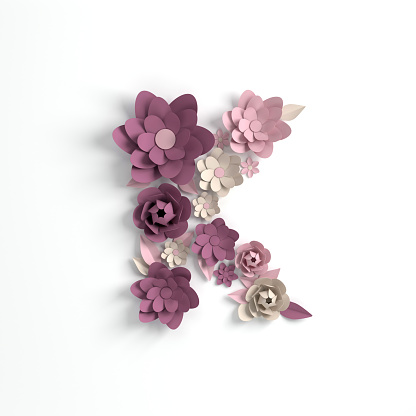 Paper Flower Alphabet Letter K 3d Render Pastel Colored Flowers In Modern Paper Art Origami Style Flat Lay Digital Illustration Isolated On White Stock Photo - Download Image Now