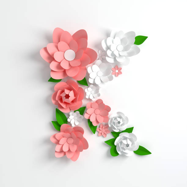 paper flower alphabet letter k 3d render. pastel colored flowers in modern paper art origami style. flat lay digital illustration. isolated on white - k logo zdjęcia i obrazy z banku zdjęć