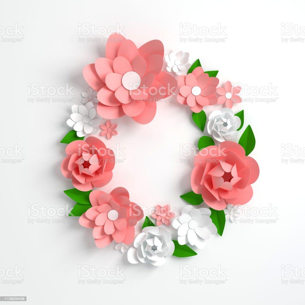 Papier Blume Alphabet Buchstaben O 3d Render Pastellfarbenen