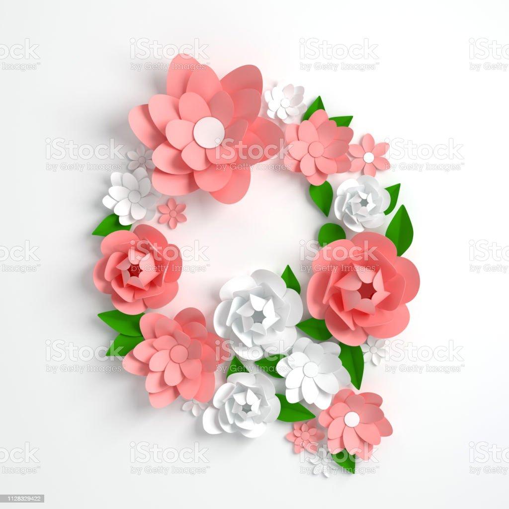 Papier Blume Alphabet Buchstaben Q 3d Render Pastellfarbenen
