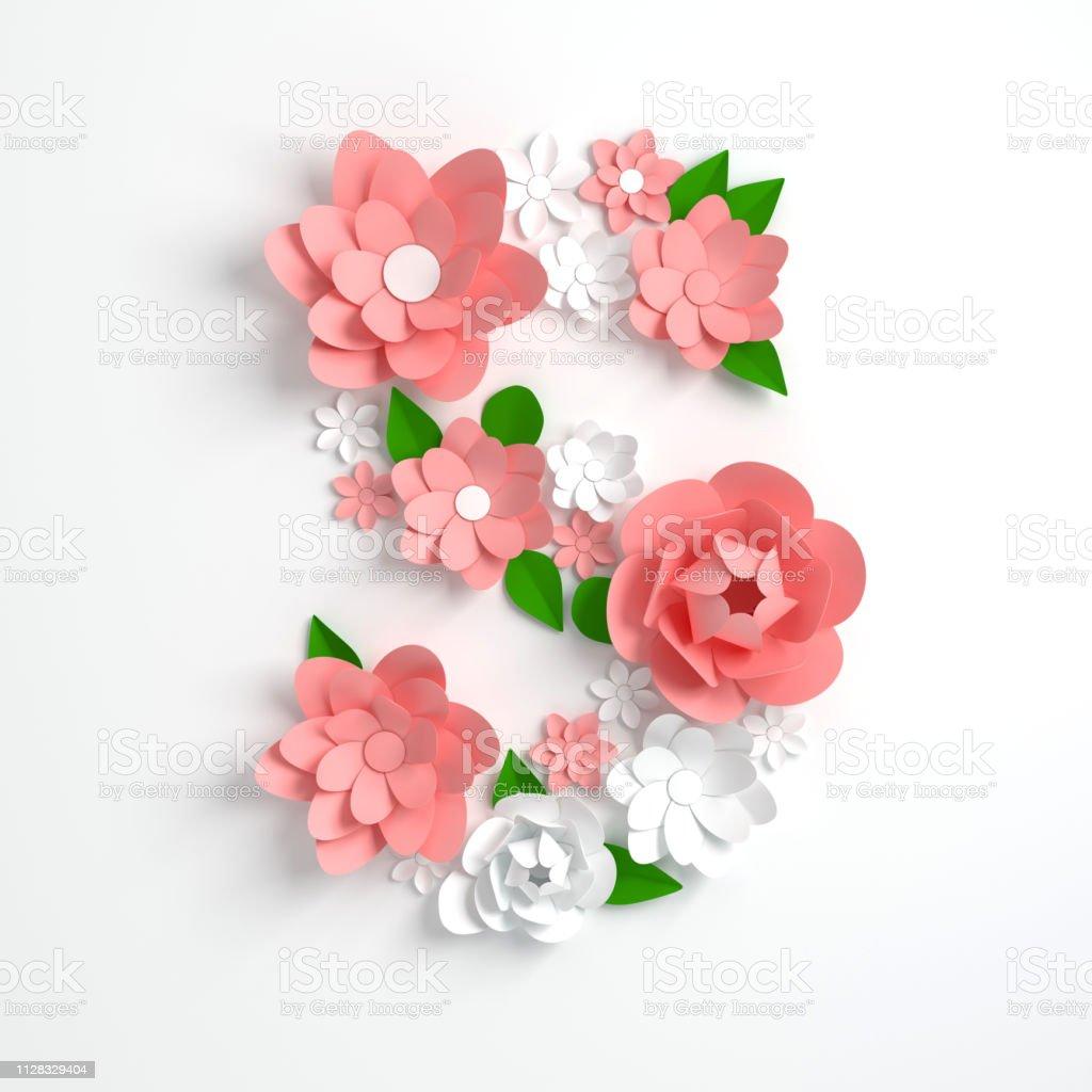 Papier Blume Alphabet Buchstaben S 3d Render Pastellfarbenen