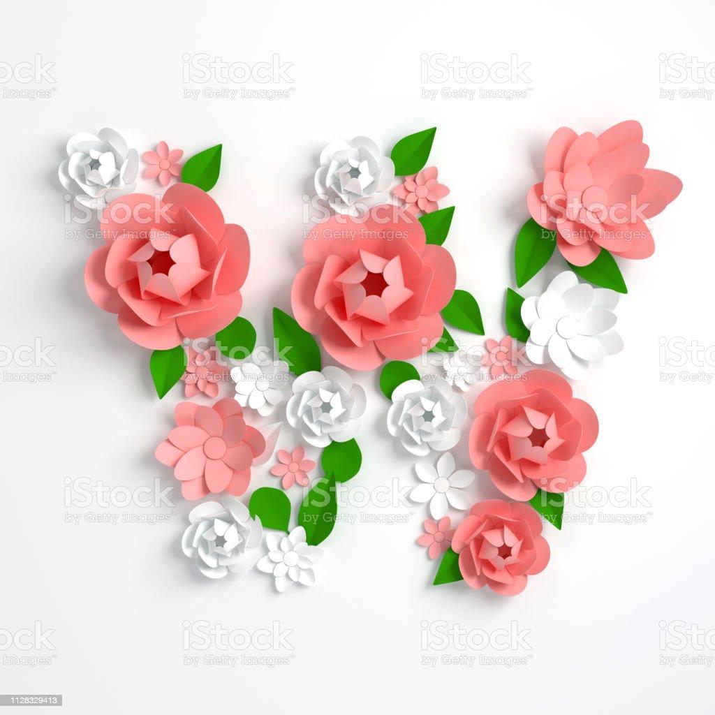 Papier Blume Alphabet Buchstaben W 3d Render Pastellfarbenen