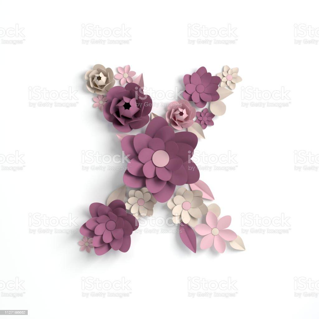Papier Blume Alphabet Buchstaben X 3d Rendern
