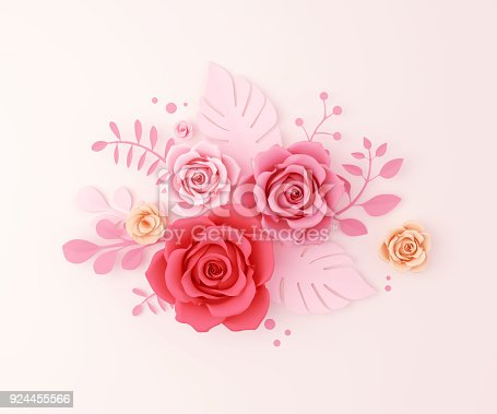 istock Paper flower craft abstract background 924455566