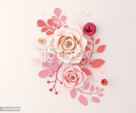 istock Paper flower craft abstract background 924455698