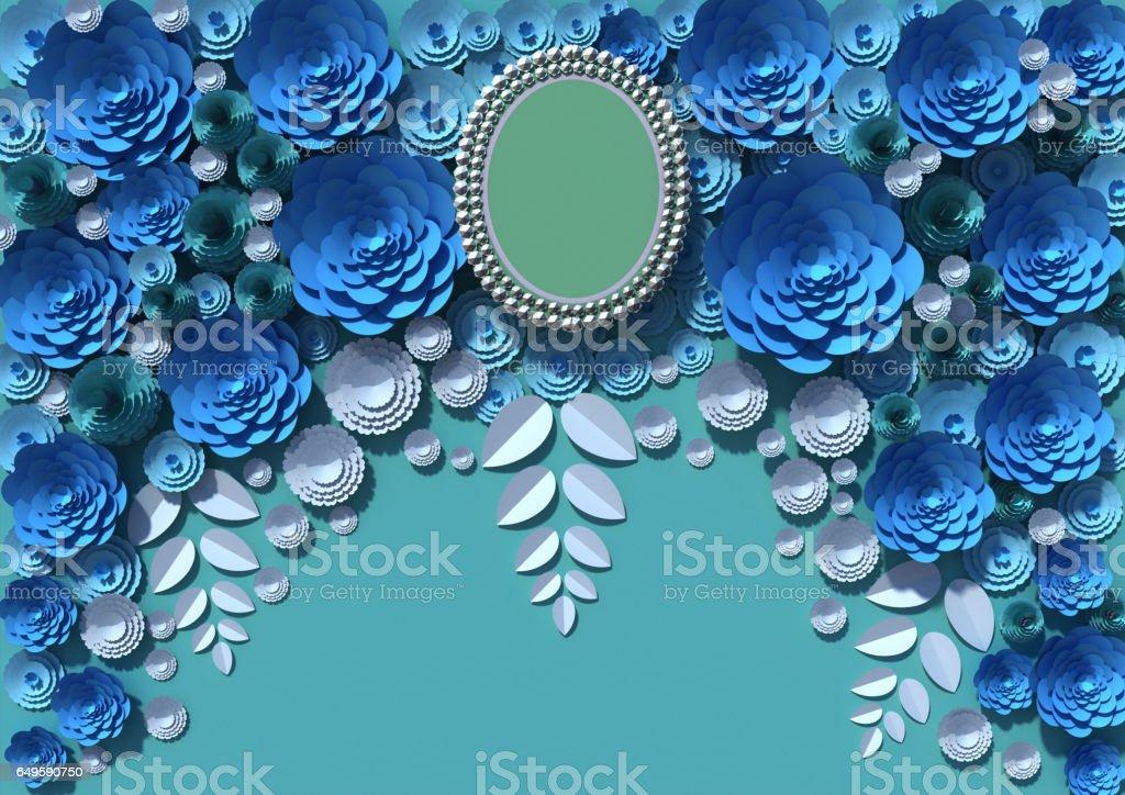 paper flowers 3D rendering stock photo