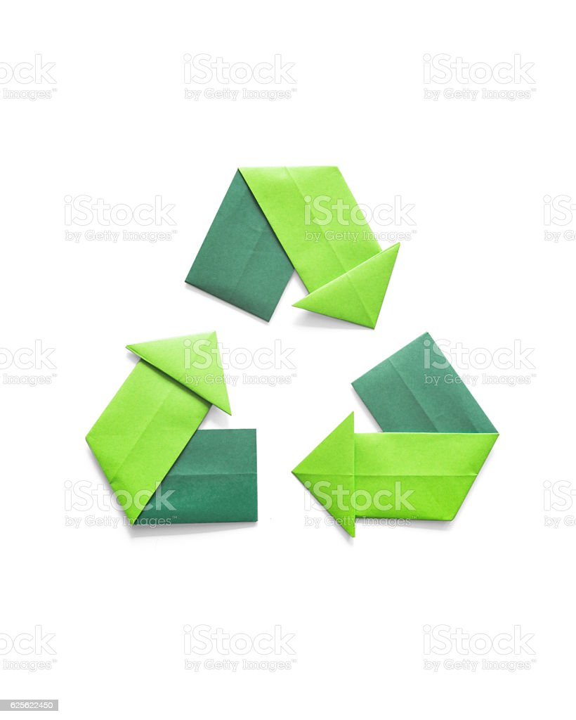Paper folded origami recycling symbol environmental concept stock photo