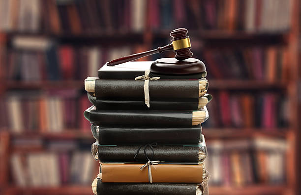 Paper folders and gavel stock photo