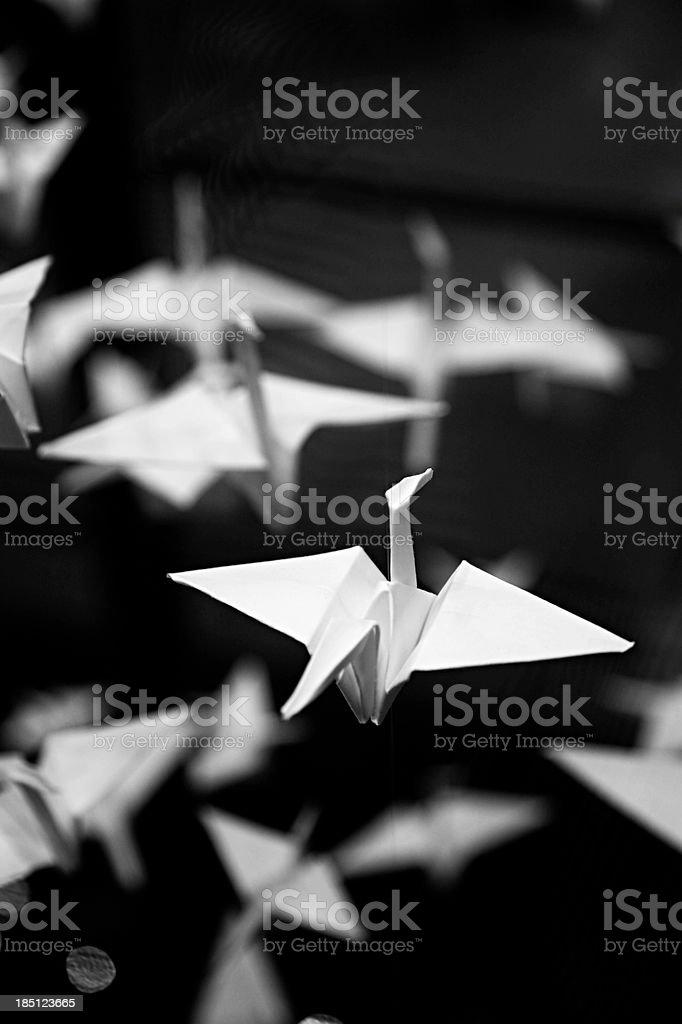 Paper folding, origami birds stock photo