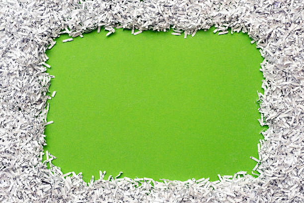 paper frame - shredded paper stock photos and pictures
