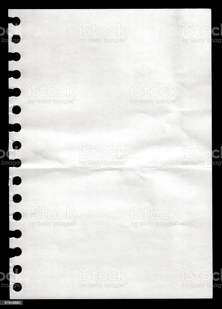 Paper from a notebook royalty-free stock photo
