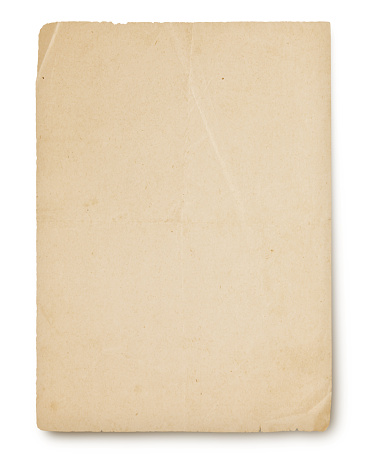 Genuine antique paper from the 1920s isolated on white (excluding the shadow)