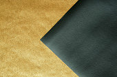 istock Paper gold sheet and Black leather abstract background texture ,Luxury and elegant 1051115720