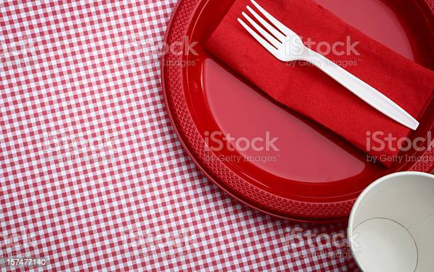 Paper Goods Picnic Stock Photo - Download Image Now