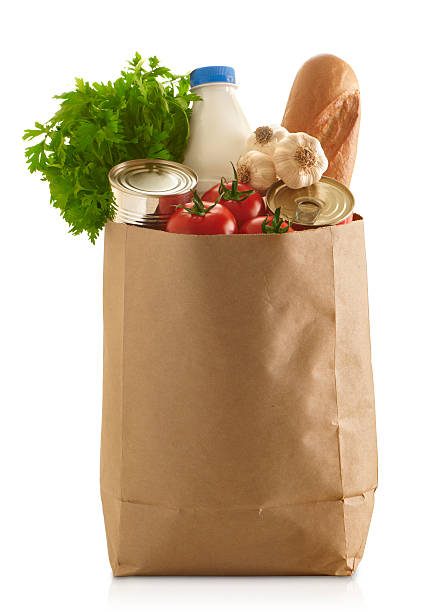 Paper Grocery Bag Brown Paper Grocery Bag,isolated on white bag stock pictures, royalty-free photos & images