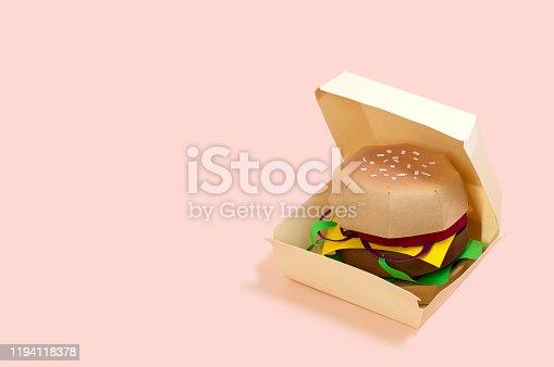 1156991909 istock photo Paper hamburger in box 1194118378
