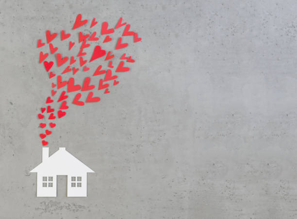 Paper house, paper hearts, Valentines day stock photo