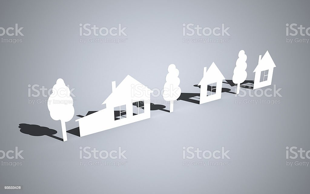 Paper houses and trees royalty-free stock photo