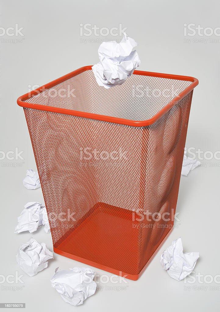 Paper in the bin stock photo