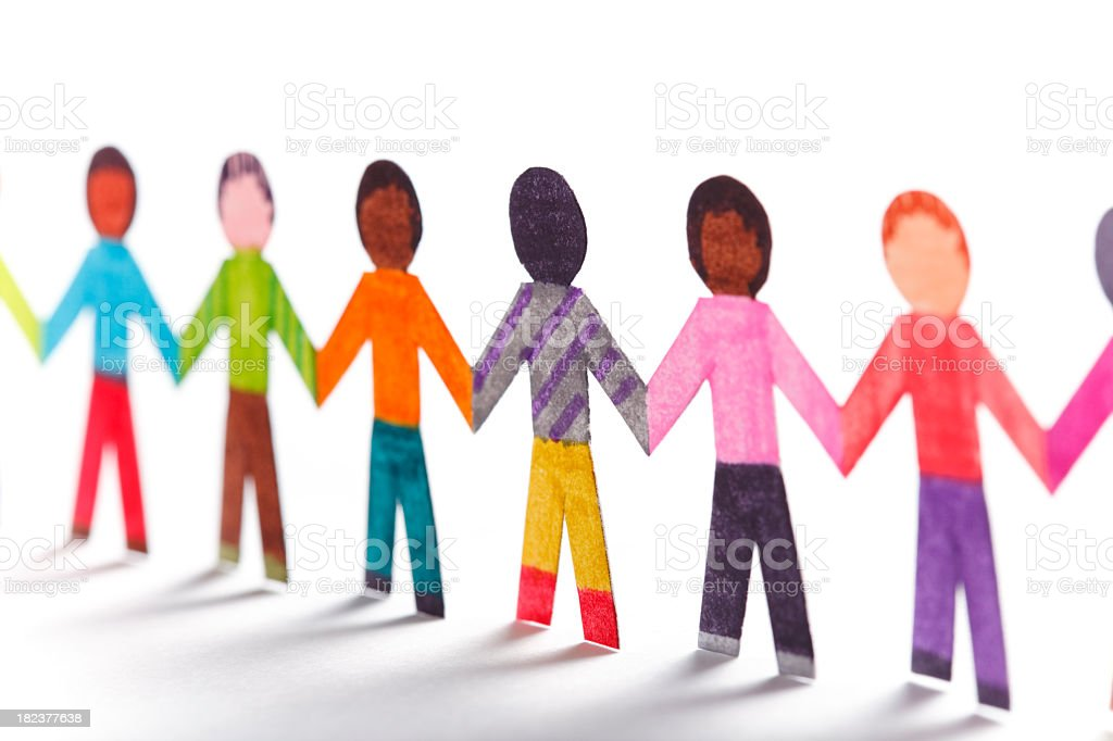 Paper kids wearing colorful clothes holding hands royalty-free stock photo
