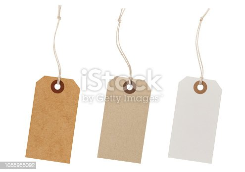 Set of recycled paper labels isolated on white