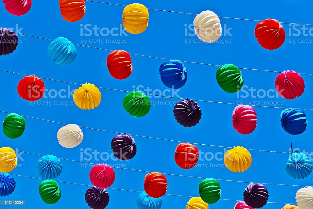 Paper Lanterns on blue sky background stock photo