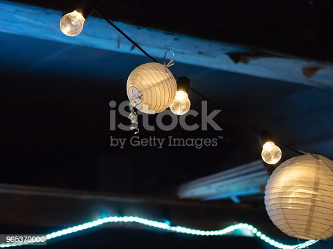 Paper Lights Strung Up For A Party At Night Stock Photo & More Pictures of Art