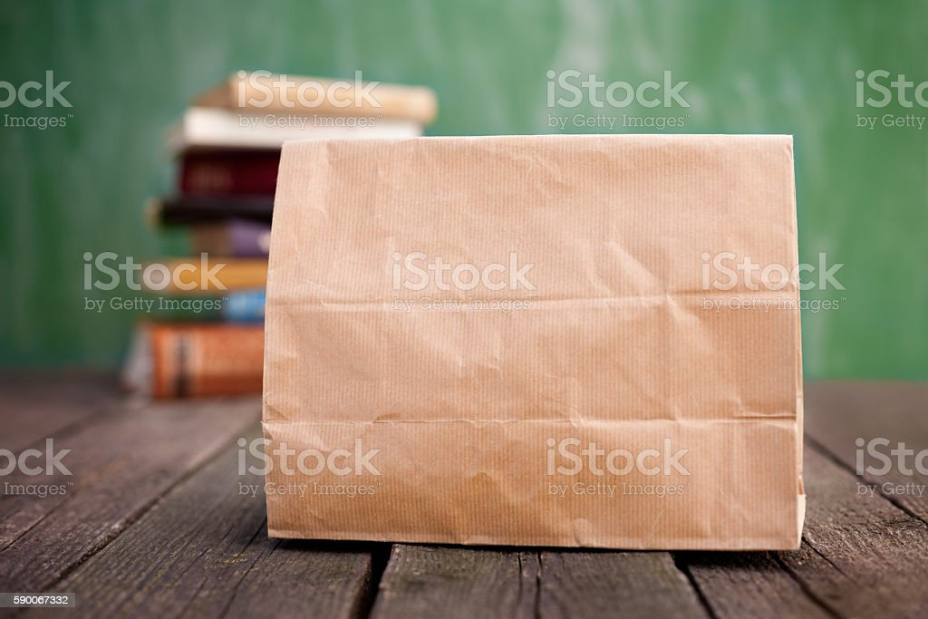 Paper lunch bag stock photo