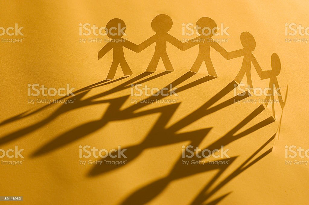 Paper man chain royalty-free stock photo