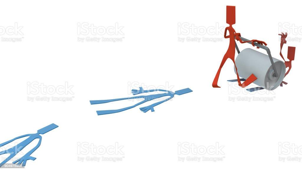 Paper Man Figure, Roller Flatten stock photo