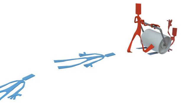 Figura de homem de papel, rolo achatar - foto de acervo