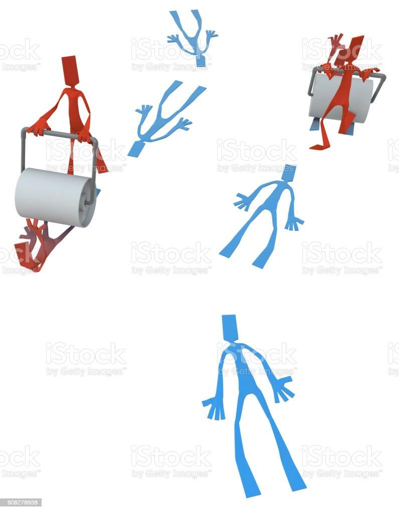Paper Man Figure, Roller Rivals stock photo