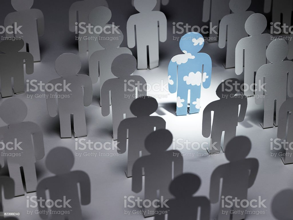 Papier Mann mit cloud-Muster ist aus einer Menschenmenge - Lizenzfrei Ansicht von oben Stock-Foto
