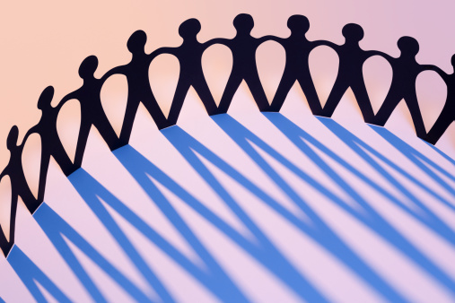 171053447 istock photo Paper Men Joined Together As Team, Union, Network or Family 166370215