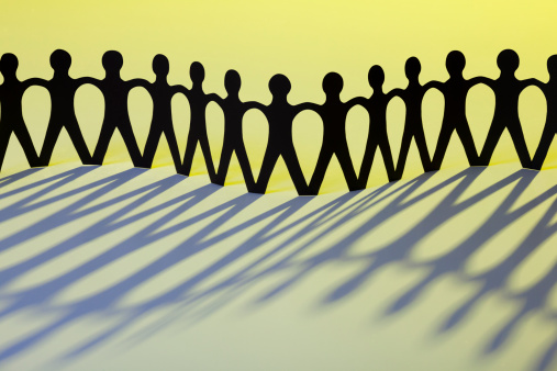 171053447 istock photo Paper Men Joining Together As Team, Union, Network or Family 166370217