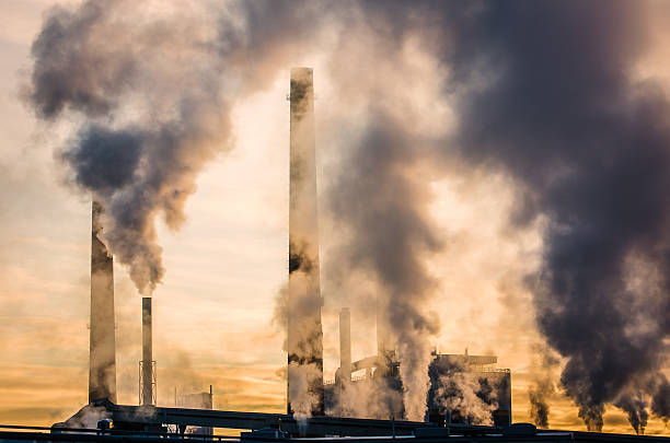 paper mill air pollution - co2 bildbanksfoton och bilder