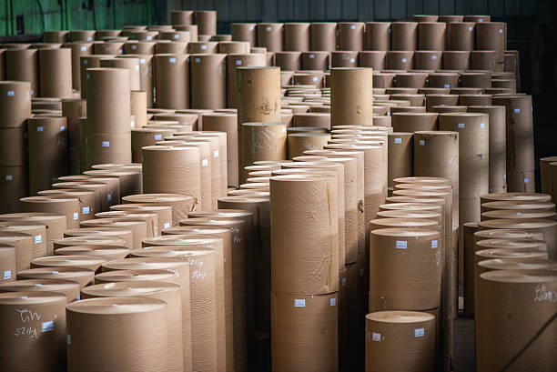 paper mill factory - papierrollen stock-fotos und bilder