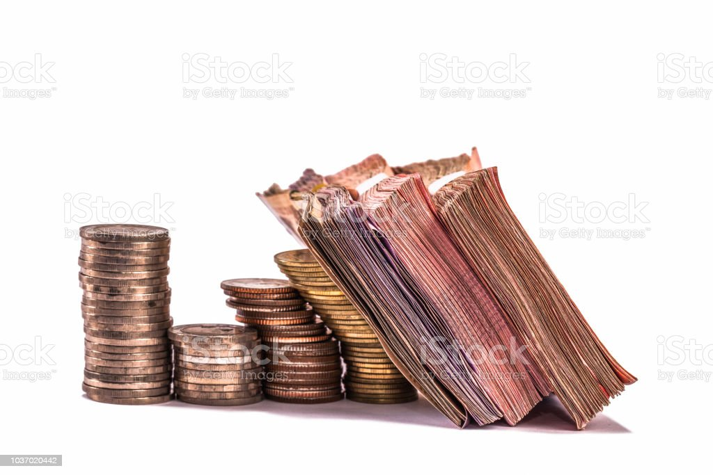 paper money of different types in white background stock photo