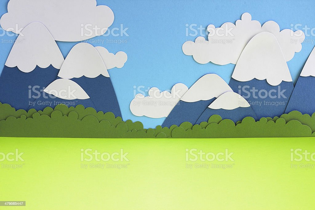 Paper mountain landscape royalty-free stock photo