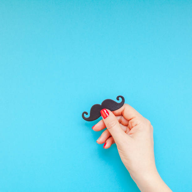 Paper moustaches for men fathers dad concept stock photo
