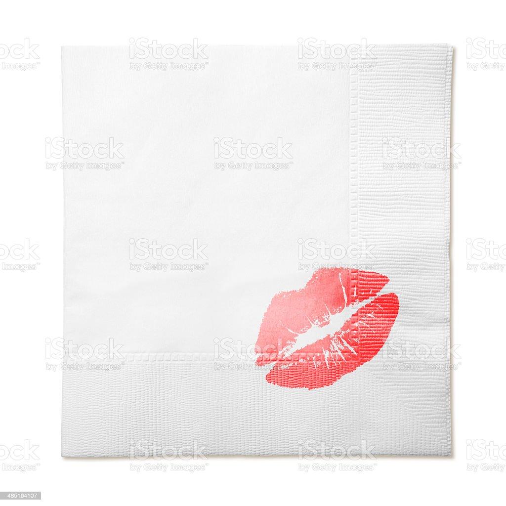 Paper Napkin with Kiss stock photo