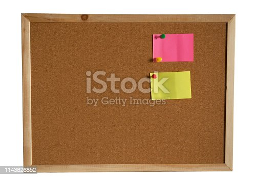 990092558 istock photo paper note pin on cork board  on white background. (clipping path) 1143826852