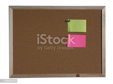 990092558 istock photo paper note pin on cork board on white background. (clipping path) 1155630423