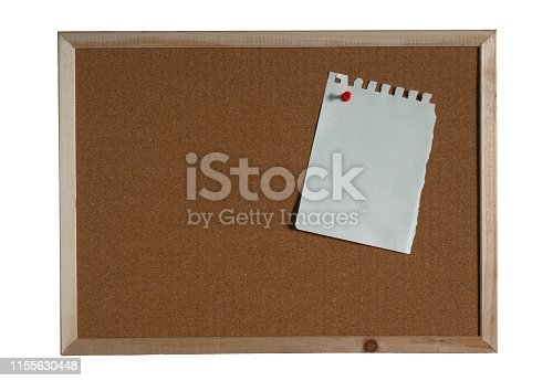 990092558 istock photo paper note pin on cork board on white background. (clipping path) 1155630448