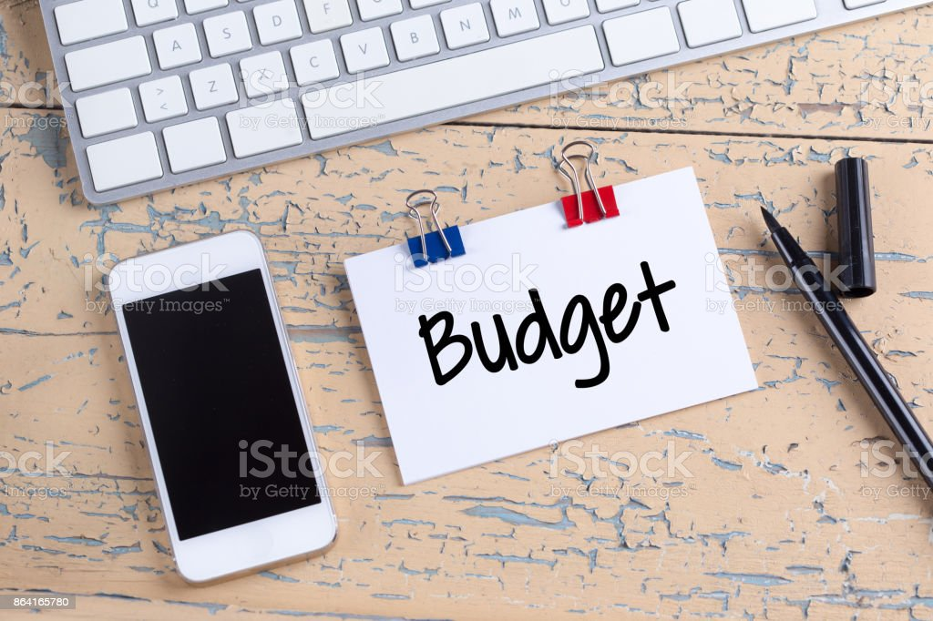 Paper note with text Budget royalty-free stock photo