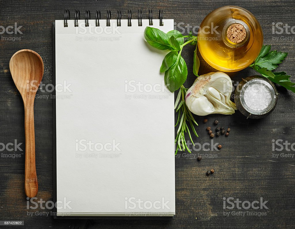 paper notebook and food ingredients stock photo