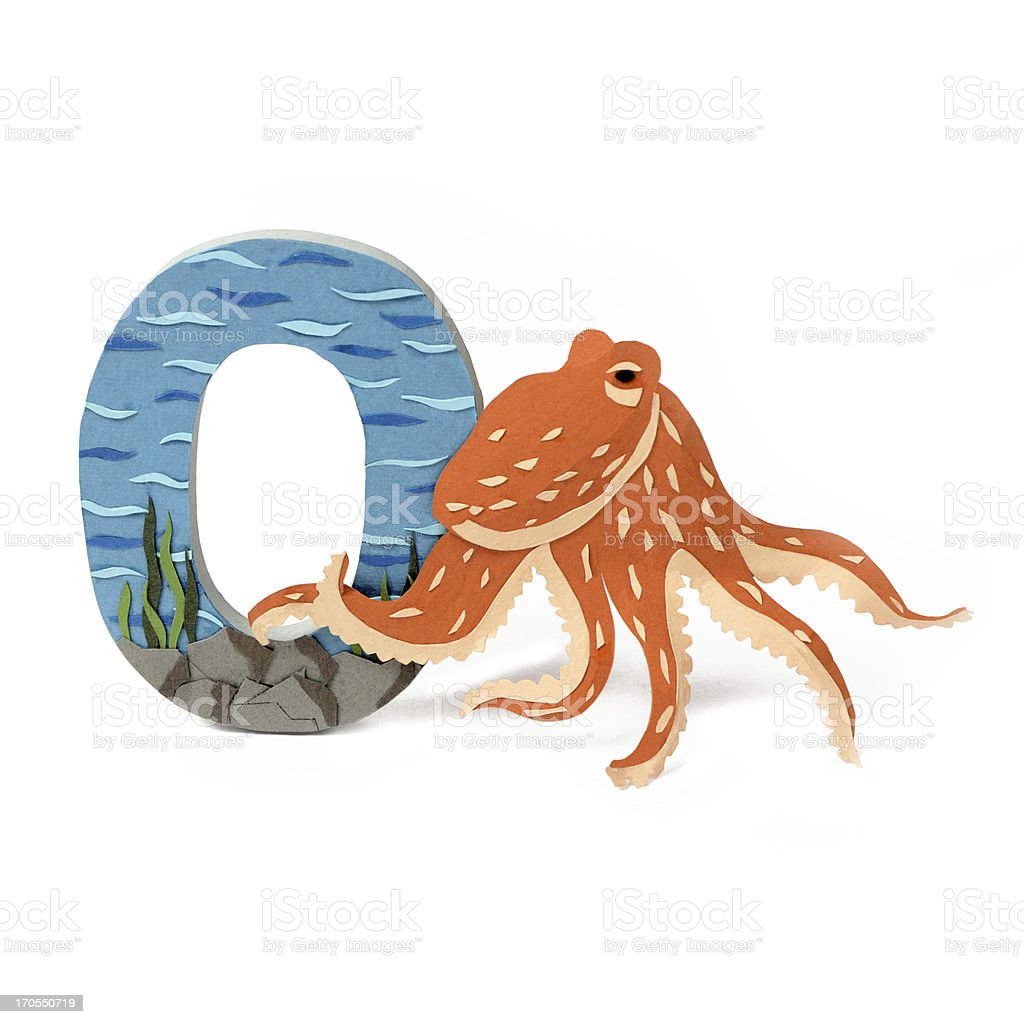 Paper octopus and O letter royalty-free stock photo
